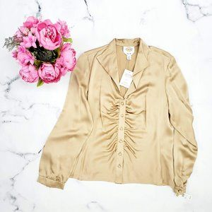 Talbots, Silk Charmeuse Blouse, Gold, 12